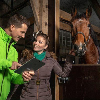 Een sfeerbeeld van een paardenstal waar een man in een groene jas iets op zijn laptop aan een vrouw laat zien die haar paard vasthoudt.